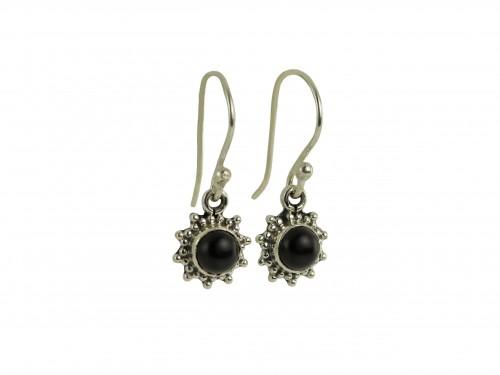 Star Motif Hook Dangle Earrings with Black Onyx in Sterling Silver
