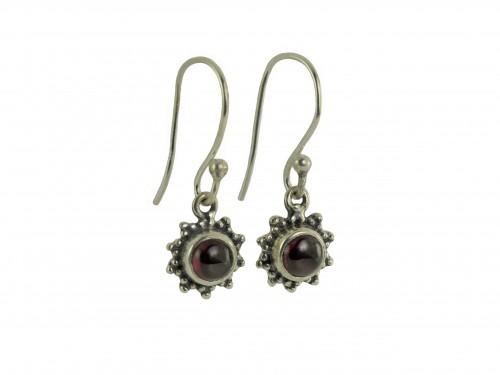 Star Motif Hook Dangle Earrings with Garnet in Sterling Silver