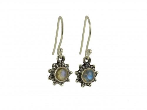 Star Motif Hook Dangle Earrings with Labradorite in Sterling Silver