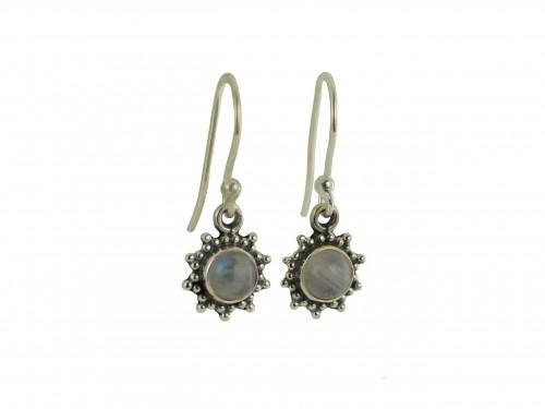 Star Motif Hook Dangle Earrings with Moonstone in Sterling Silver