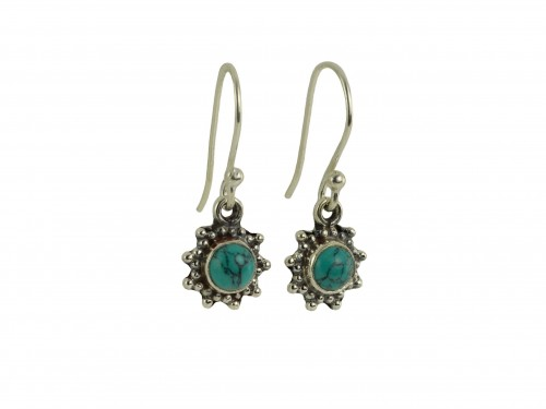 Star Motif Hook Dangle Earrings with Turquoise in Sterling Silver