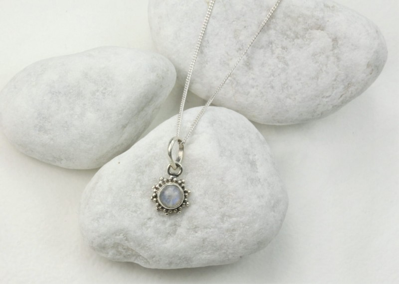 Star Motif Pendant Necklace with Moonstone in Sterling Silver