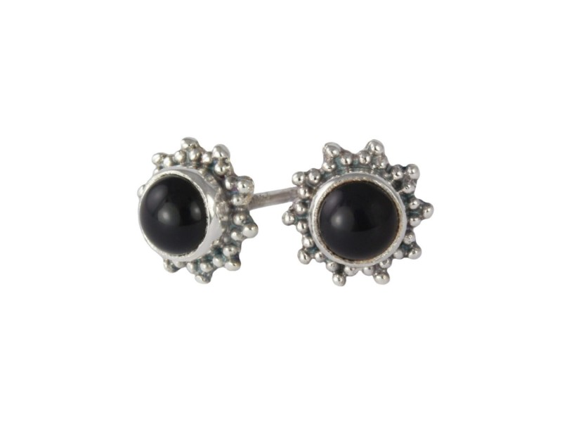 Star Motif Studs with Black Onyx in Sterling Silver