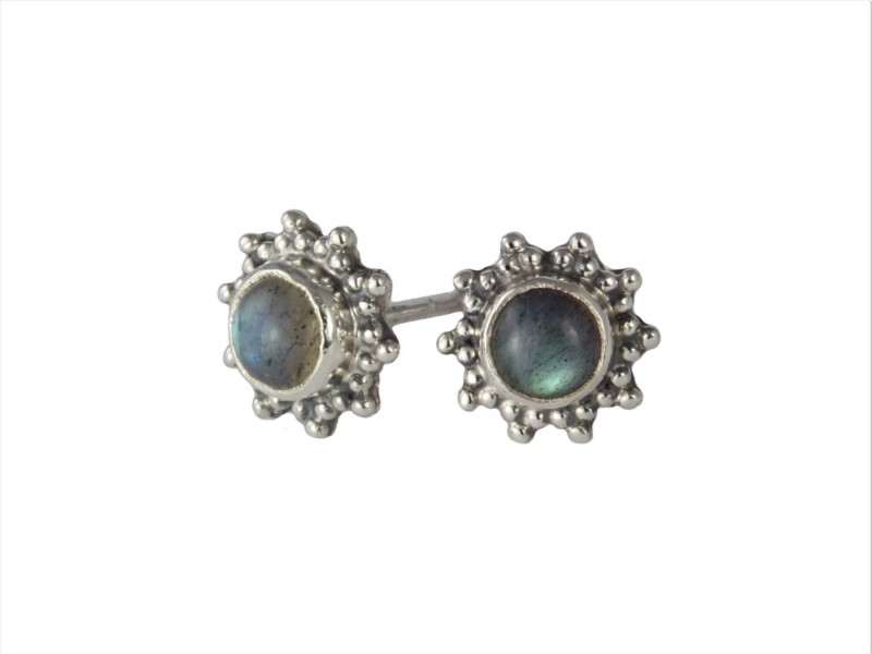 Star Motif Studs with Labradorite in Sterling Silver