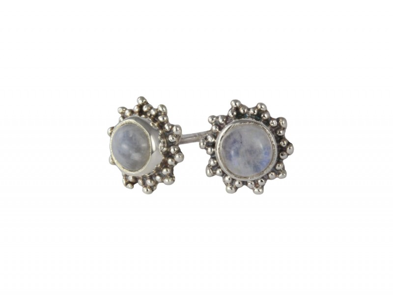 Star Motif Studs with Moonstone in Sterling Silver