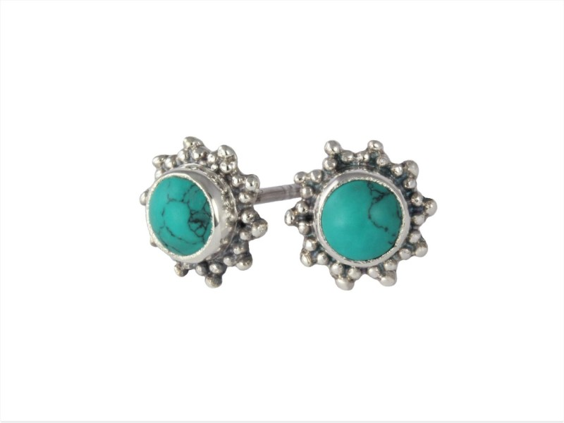 Star Motif Studs with Turquoise in Sterling Silver