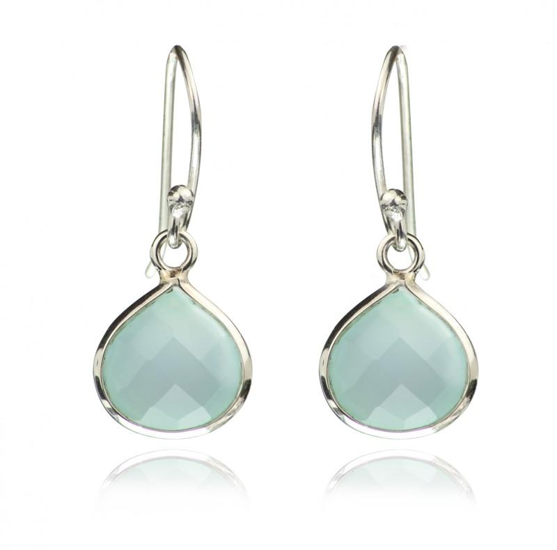 Teardrop Earrings with Chalcedony Gemstone in Sterling Silver