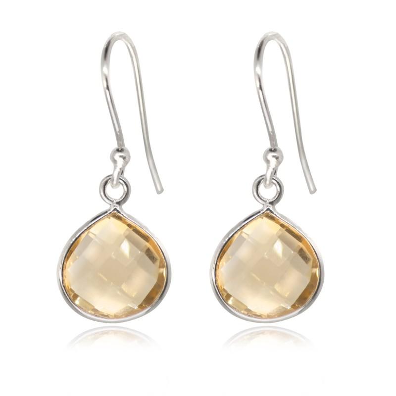 Teardrop Earrings with Citrine Stone in Sterling Silver