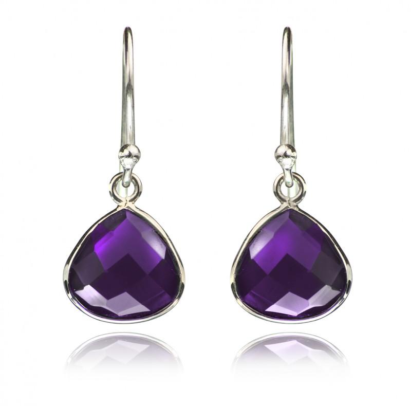 Teardrop Earrings with Amethyst Gemstones in Sterling Silver