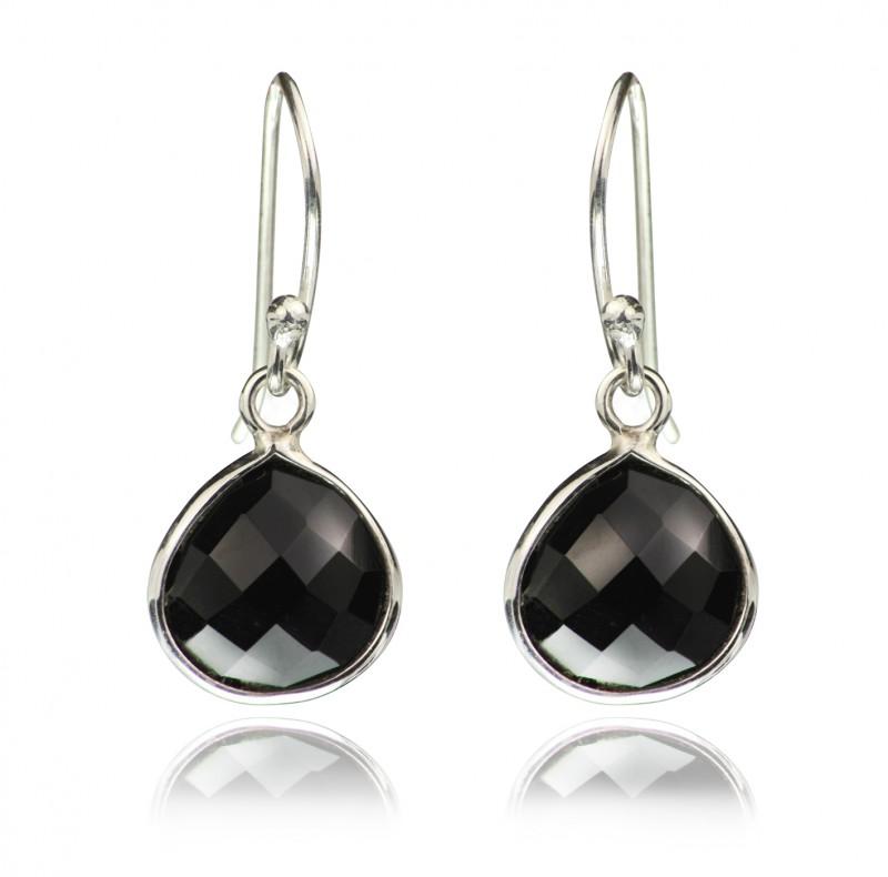 Teardrop Earrings with Genuine Black Onyx Gemstones in Sterling Silver