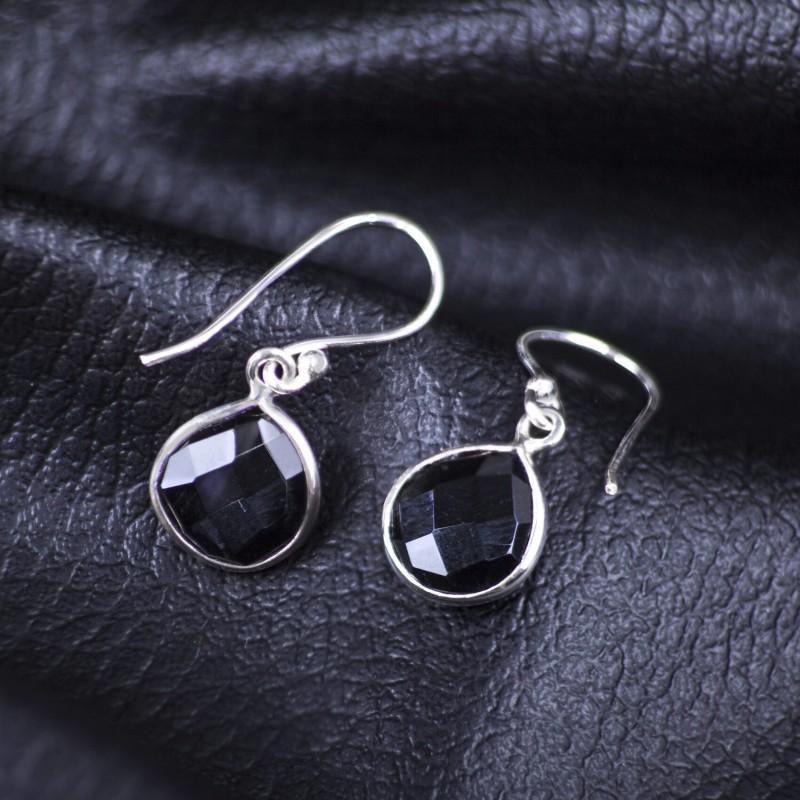 Teardrop Earrings with Genuine Black Onyx Gemstones in Sterling Silver 2