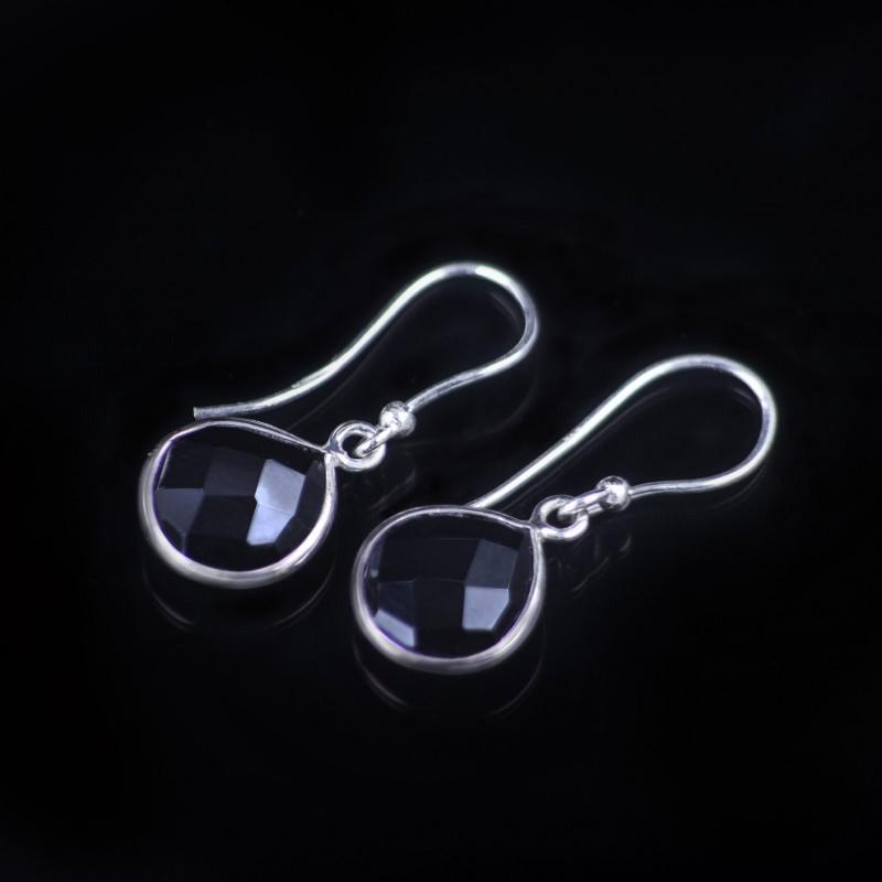 Teardrop Earrings with Genuine Black Onyx Gemstones in Sterling Silver 3