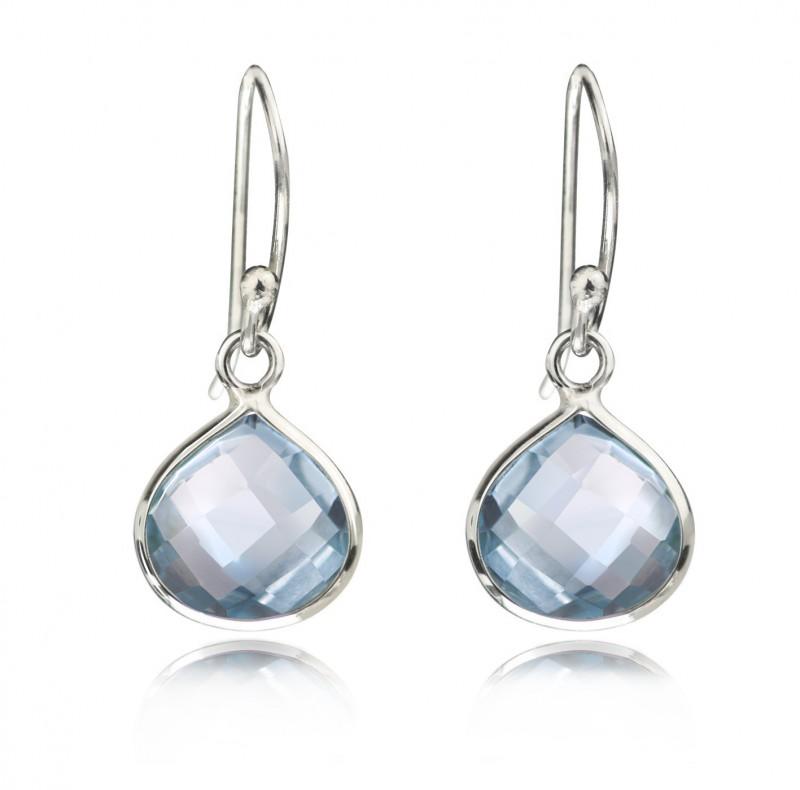 Teardrop Earrings with Genuine Blue Topaz Gemstones in Sterling Silver