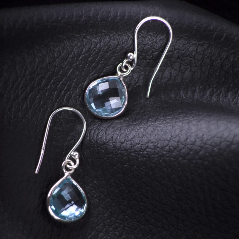 Teardrop Earrings with Genuine Blue Topaz Gemstones in Sterling Silver 2