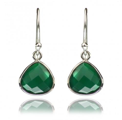 Teardrop Earrings with Genuine Green Onyx Gemstones in Sterling Silver