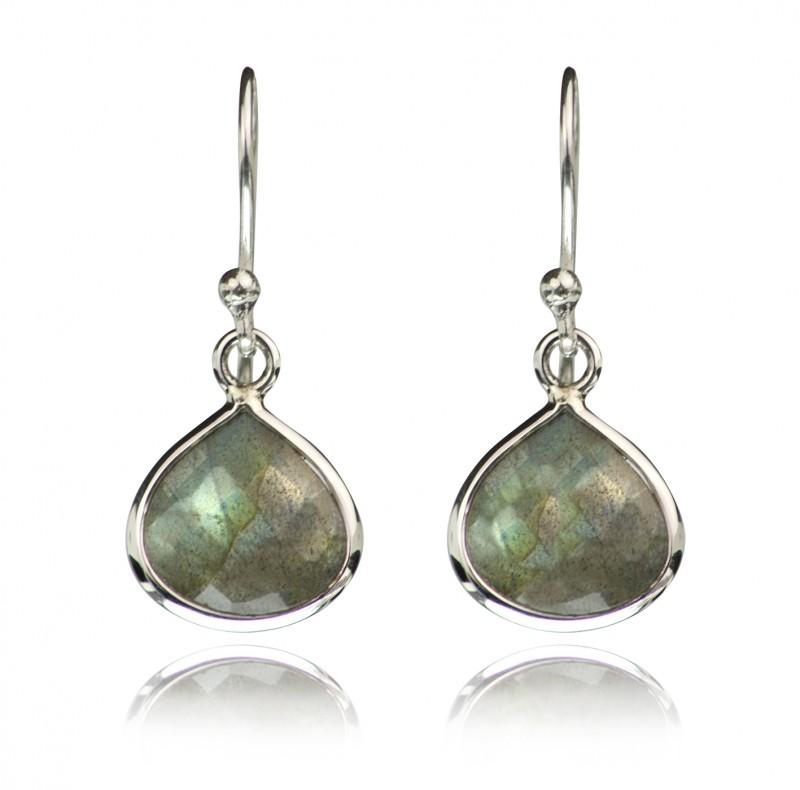 Teardrop Earrings with Genuine Labrodorite Gemstones in Sterling Silver
