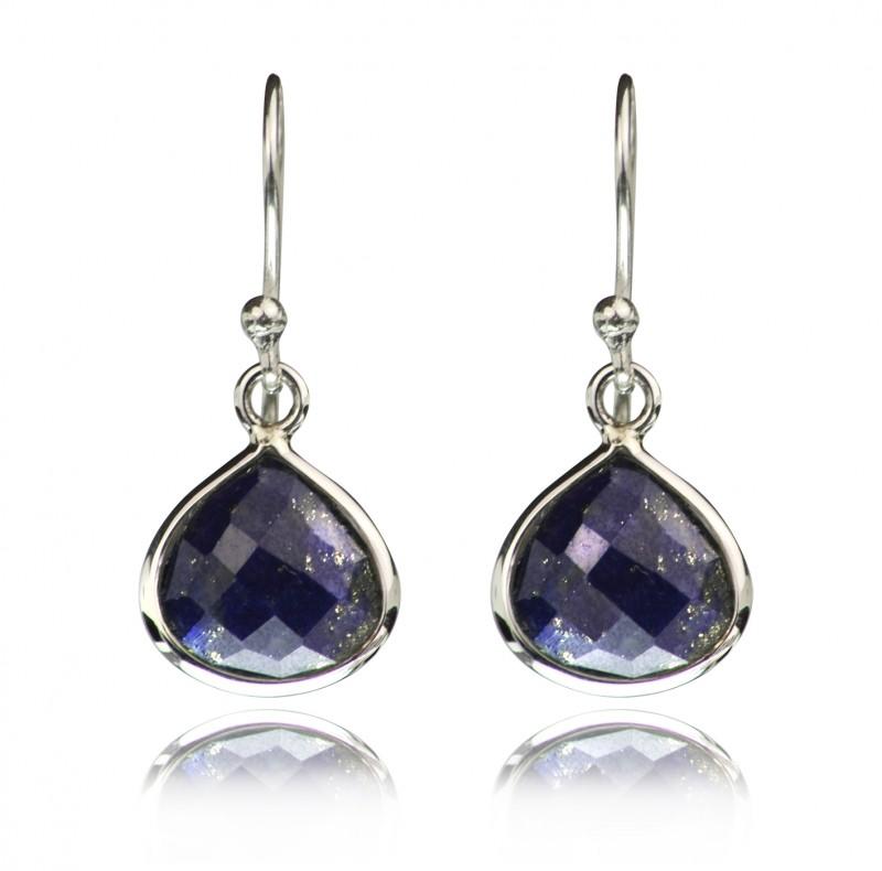Teardrop Earrings with Lapis Lazuli in Sterling Silver