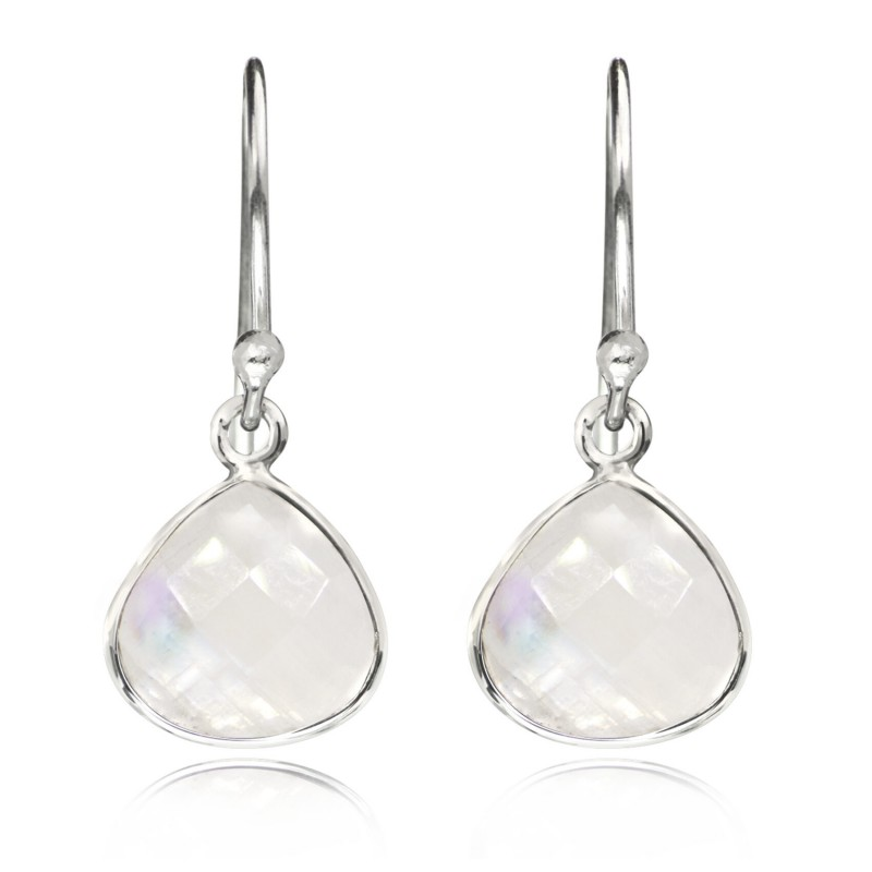 Teardrop Earrings with Moonstone and Sterling Silver