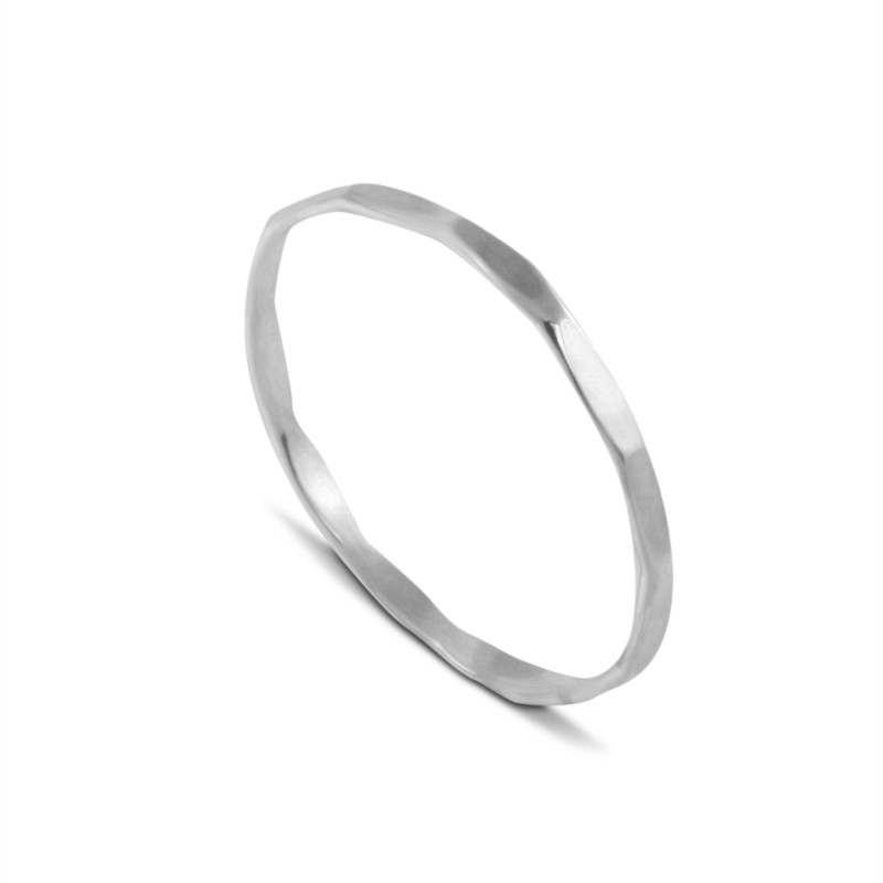 Thin Hammered Band Ring in Sterling Silver