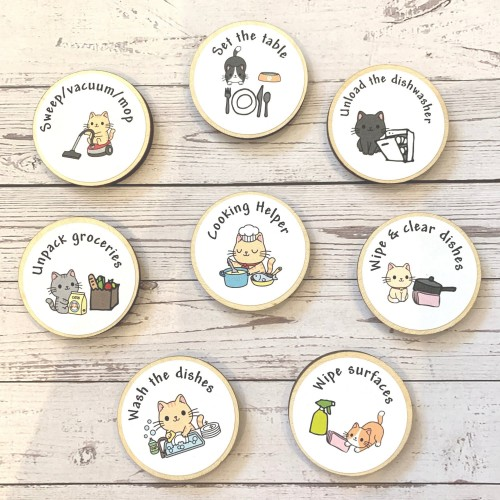 Tidy KITCHEN Kids Chores Wood Magnet Tokens