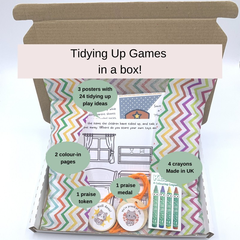 Tidying Up Games in a Box! 24 Play Ideas, Colour-in Activities, Praise Medals 1