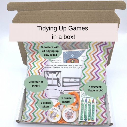 Tidying Up Games in a Box! 24 Play Ideas, Colour-in Activities, Praise Medals