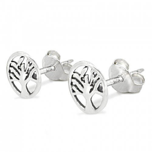 Tree of Life Studs with Butterfly Fastening in Sterling Silver