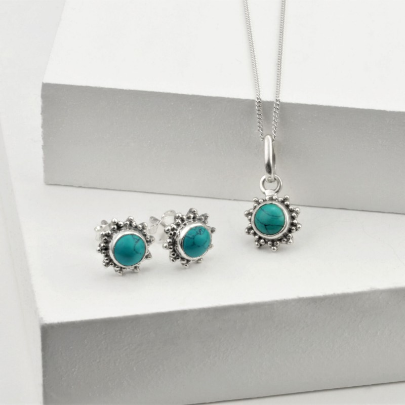 Turquoise Star Motif Jewellery set in 925 Sterling Silver