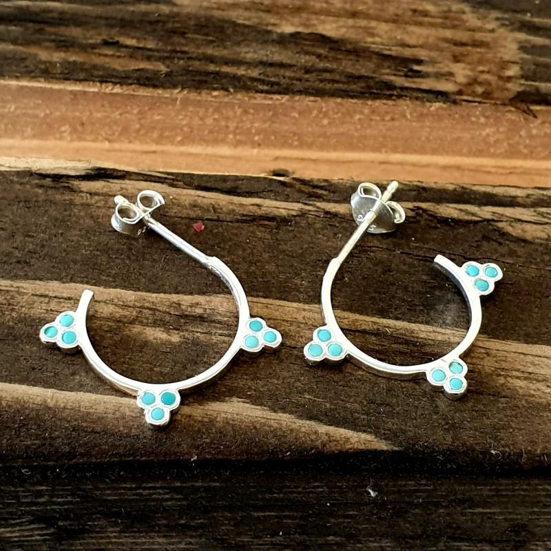 Turquoise Three Trilogy Midi Hoop Earrings in Sterling Silver