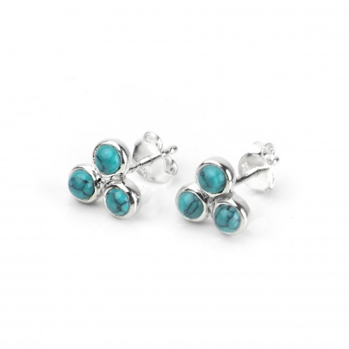 Turquoise Trilogy Studs in Sterling Silver