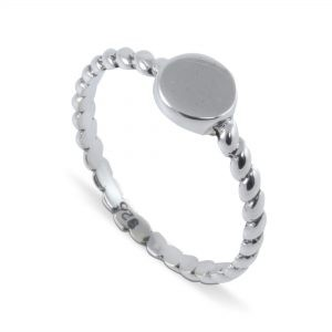 Twisted Band Disc Ring in Sterling Silver