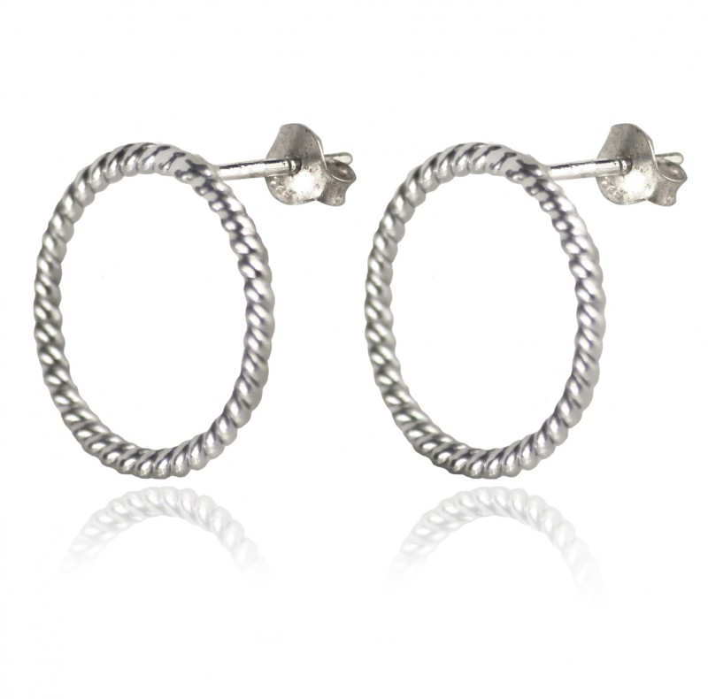 Twisted Wire Big Circle Stud with Butterfly Fastening in Sterling Silver