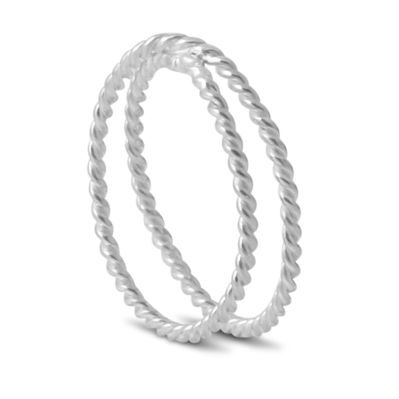 Twisted Wire Double Shank Ring in Sterling Silver