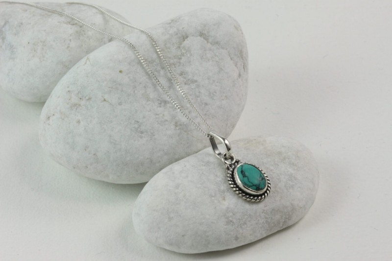 Twisted Wire Oval Pendant Necklace with Turquoise in Sterling Silver