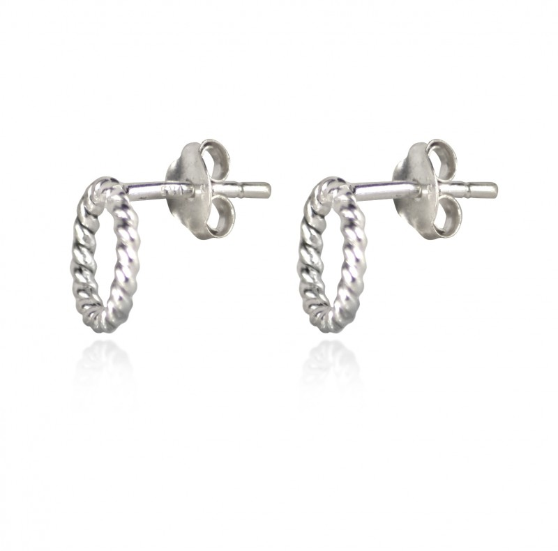 Twisted Wire Small Circle Studs with Butterfly Fastening in Sterling Silver
