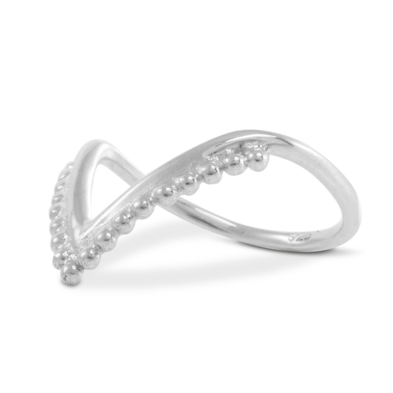 V or Chevron Beaded Bali Ring in Sterling Silver