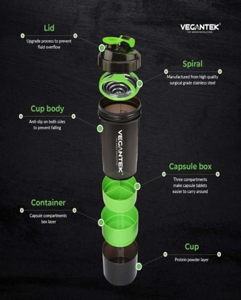 VeganTek Shaker (BPA free & storage) 3