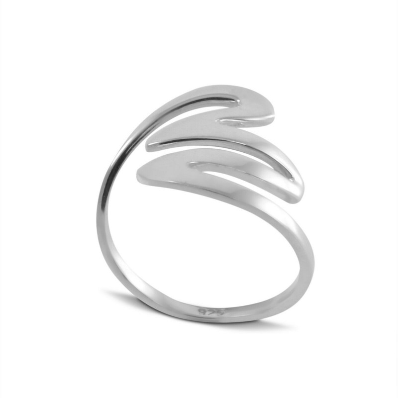Wave ring in sterling silver, Curved ring