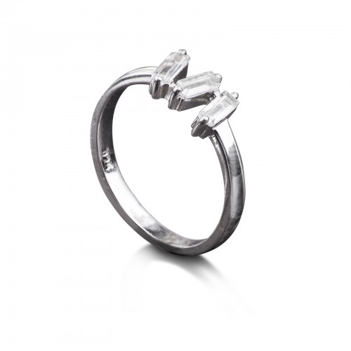 White Topaz Baguette Cut Ring in Sterling Silver