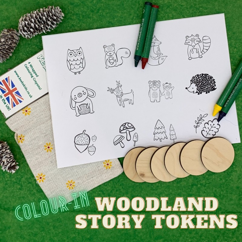 Woodland Colour-in Wooden Story Tokens, Eco Friendly Stocking Filler 1