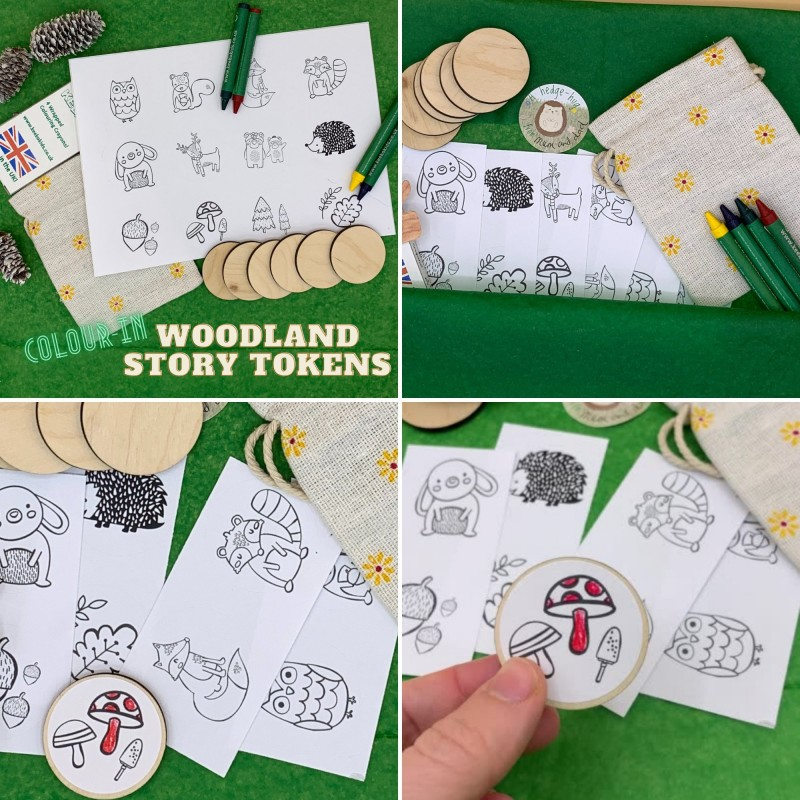 Woodland Colour-in Wooden Story Tokens, Eco Friendly Stocking Filler 2