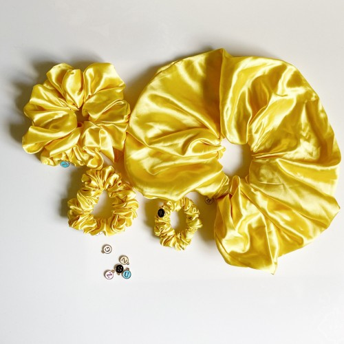 Yellow Satin Hair Scrunchies